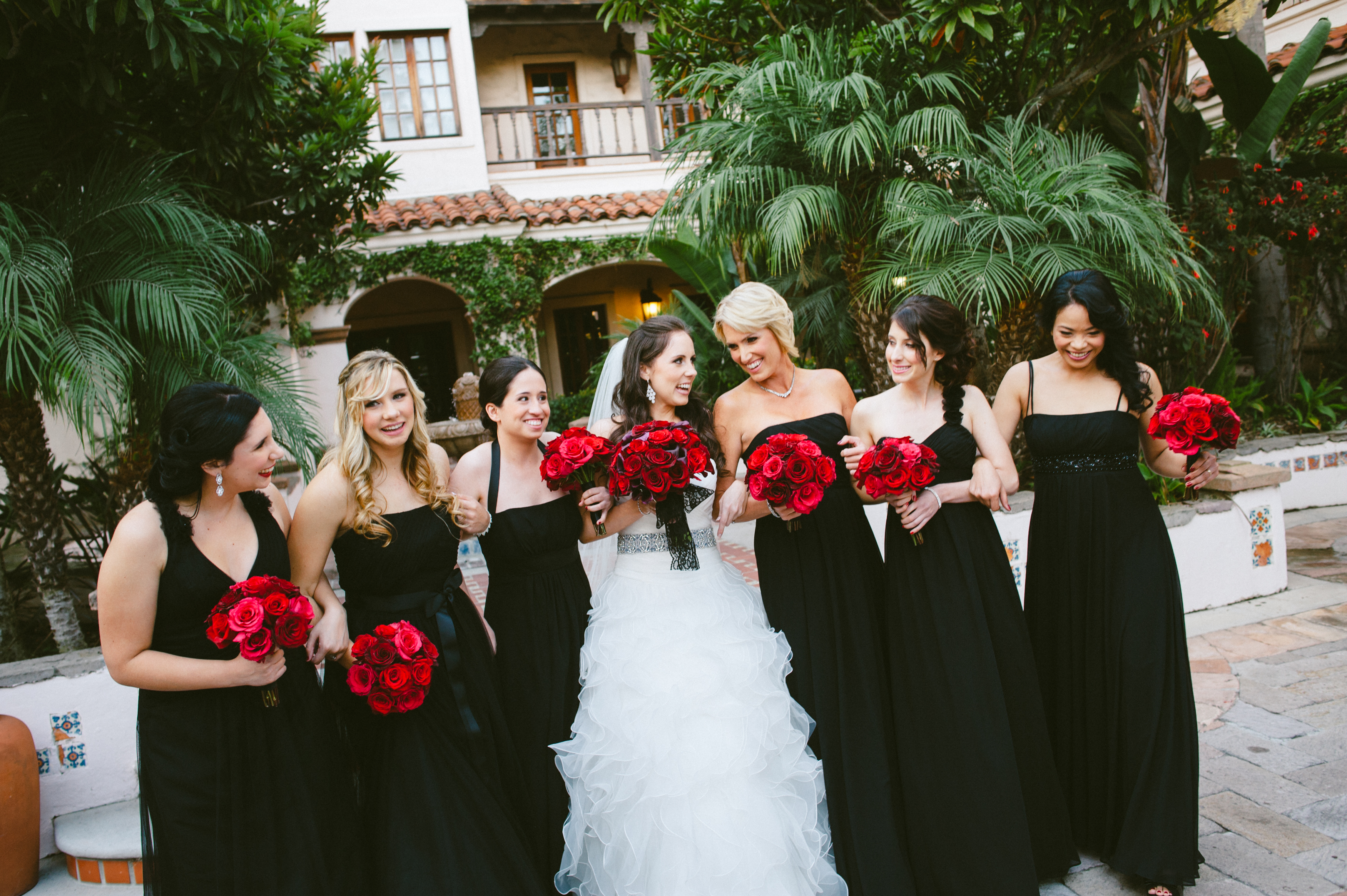 Red Roses White Wedding Party Dresses